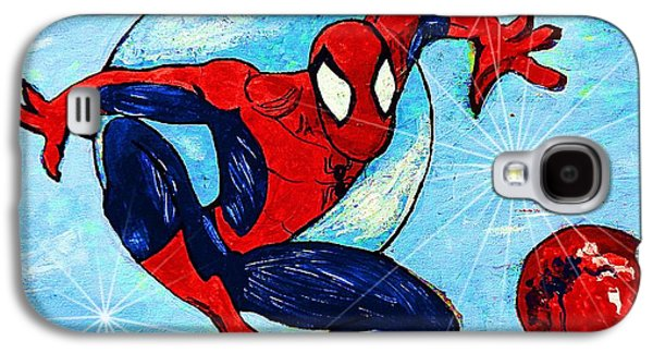 Crime Fighter Galaxy S4 Cases - Spiderman Out of the Blue 2 Galaxy S4 Case by Saundra Myles