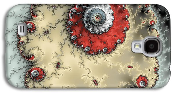 Abstract Digital Photographs Galaxy S4 Cases - Spiral - fractal artwork in yellow gray and red Galaxy S4 Case by Matthias Hauser