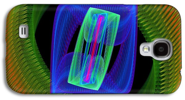 Round Galaxy S4 Cases - Spiral Vortex Green And Blue Fractal Flame Galaxy S4 Case by Keith Webber Jr