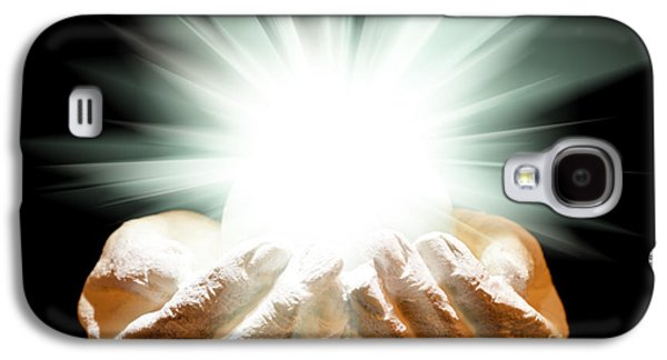 Spiritualism Galaxy S4 Cases - Spiritual light in cupped hands on a black background Galaxy S4 Case by Simon Bratt Photography LRPS