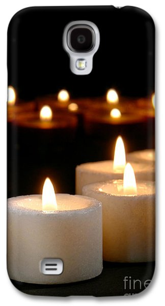 Religious Galaxy S4 Cases - Spiritual Reflection Candles Galaxy S4 Case by Olivier Le Queinec