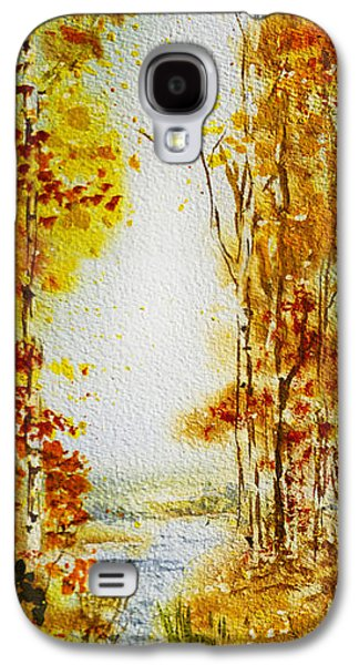 Maple Season Paintings Galaxy S4 Cases - Splash of Fall Galaxy S4 Case by Irina Sztukowski