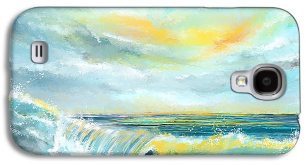 Inspired Paintings Galaxy S4 Cases - Splash Of Sun - Seascapes Sunset Abstract Painting Galaxy S4 Case by Lourry Legarde