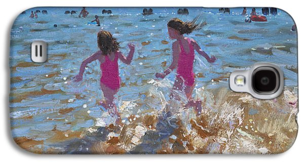 Sisters Paintings Galaxy S4 Cases - Splashing in the sea Galaxy S4 Case by Andrew Macara