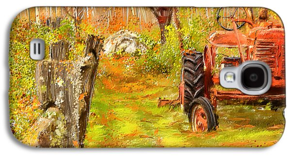 Farming Paintings Galaxy S4 Cases - Splendor of the Past - Red Tractor Art Galaxy S4 Case by Lourry Legarde