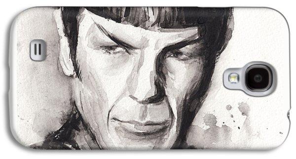 Science Fiction Paintings Galaxy S4 Cases - Spock Portrait Watercolor Star Trek Fan Art Galaxy S4 Case by Olga Shvartsur