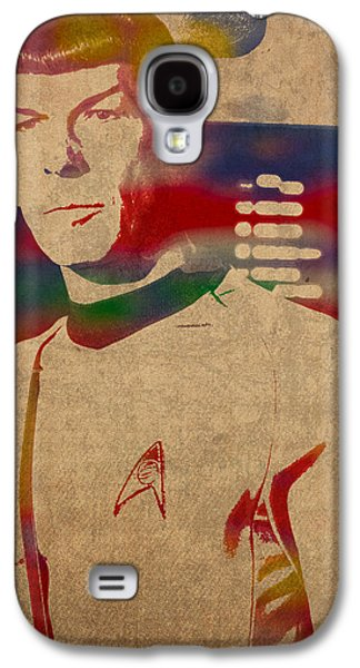 Science Fiction Mixed Media Galaxy S4 Cases - Spock Star Trek Leonard Nimoy Watercolor Portrait On Worn Distressed Canvas Galaxy S4 Case by Design Turnpike