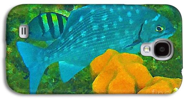 Fish On A Reef Galaxy S4 Cases - Spotted Surgeon Fish Galaxy S4 Case by John Malone
