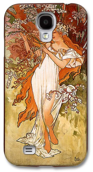 Grapes Art Deco Galaxy S4 Cases - Spring Galaxy S4 Case by Alphonse Maria Mucha