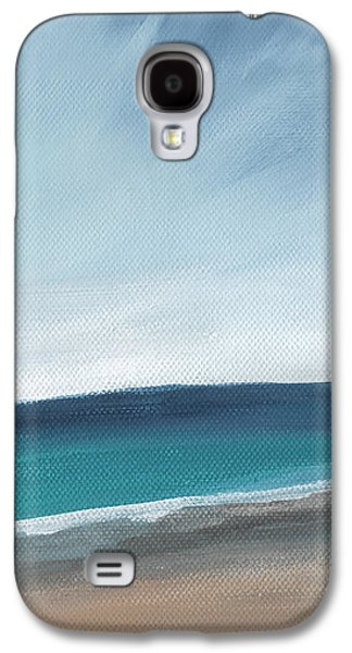 Landscapes Mixed Media Galaxy S4 Cases - Spring Beach- contemporary abstract landscape Galaxy S4 Case by Linda Woods