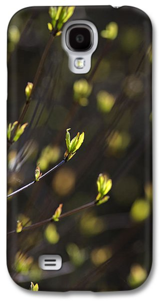 Gold Lime Green Galaxy S4 Cases - Spring Bokeh Galaxy S4 Case by Christina Rollo