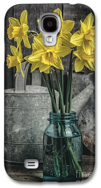 Mason Jars Galaxy S4 Cases - Spring Daffodil Flowers Galaxy S4 Case by Edward Fielding