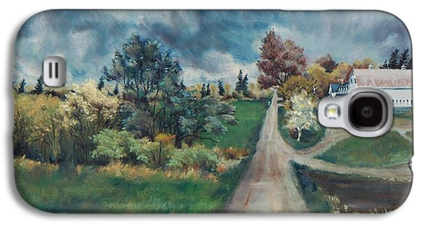 Maine Roads Paintings Galaxy S4 Cases - Spring Farm Galaxy S4 Case by Joy Nichols