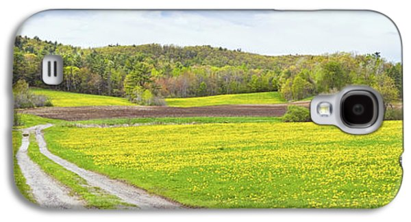 Maine Meadow Galaxy S4 Cases - Spring Farm Landscape With Dirt Road And Dandelions Maine Galaxy S4 Case by Keith Webber Jr