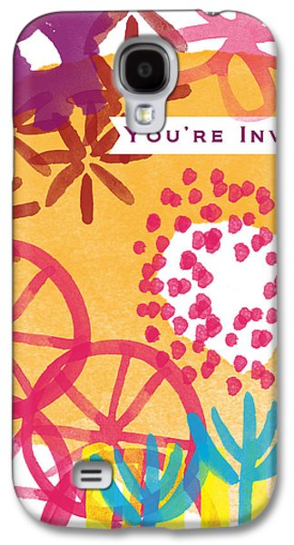 Party Birthday Party Galaxy S4 Cases - Spring Floral Invitation- Greeting Card Galaxy S4 Case by Linda Woods