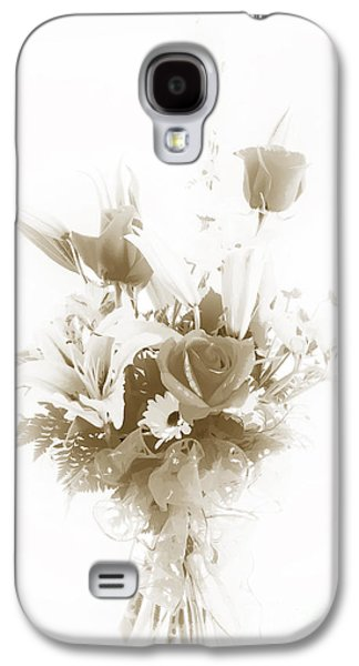 Botanical Pastels Galaxy S4 Cases - Spring flower Pastel Paint arrangement in Sepia 3176.01 Galaxy S4 Case by M K  Miller