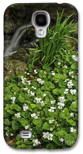 Early Spring Galaxy S4 Cases - Spring flowers near creek Galaxy S4 Case by Elena Elisseeva