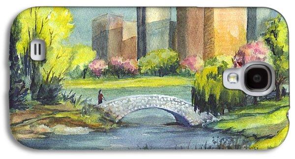 Park Scene Drawings Galaxy S4 Cases - Spring  in Central Park N Y C  Galaxy S4 Case by Carol Wisniewski