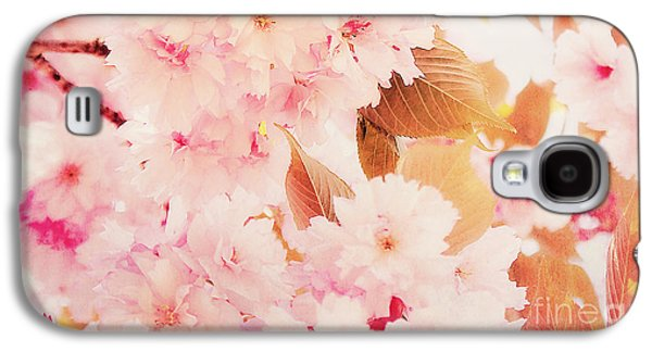 Cherry Blossoms Mixed Media Galaxy S4 Cases - Spring love Galaxy S4 Case by Angela Doelling AD DESIGN Photo and PhotoArt