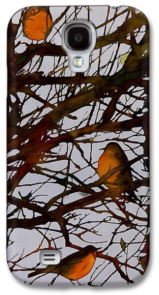Light Tapestries - Textiles Galaxy S4 Cases - Spring Robins Gather Galaxy S4 Case by Carolyn Doe