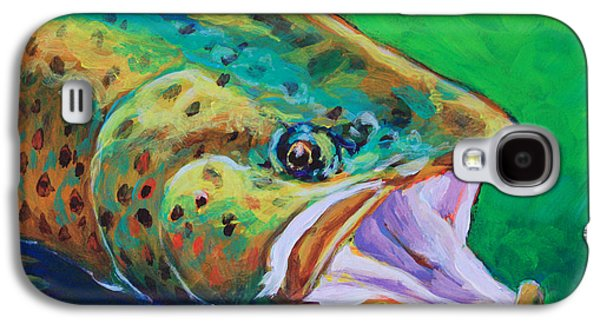 Brown Print Galaxy S4 Cases - Spring Time Brown Trout- Fly Fishing Art Galaxy S4 Case by Mike Savlen