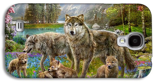 Harmonious Galaxy S4 Cases - Spring Wolf Family Galaxy S4 Case by Jan Patrik Krasny