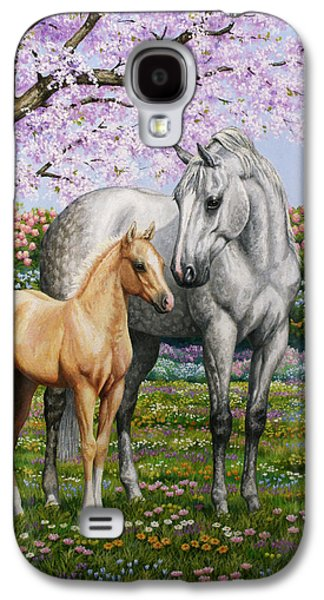 Rhododendron Galaxy S4 Cases - Springs Gift - Mare and Foal Galaxy S4 Case by Crista Forest