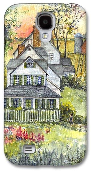 Garden Scene Drawings Galaxy S4 Cases - Springtime Down on the Farm Galaxy S4 Case by Carol Wisniewski