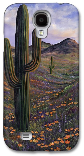 Sonora Paintings Galaxy S4 Cases - Springtime Saguaro In Arizona Galaxy S4 Case by Carolyn D Barela