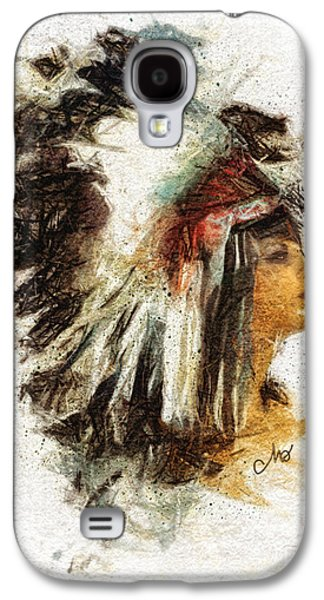Tribe Paintings Galaxy S4 Cases - Squaw Galaxy S4 Case by Mo T