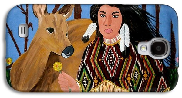 Indian Tapestries - Textiles Galaxy S4 Cases - Squaw with Deer Galaxy S4 Case by Linda Egland