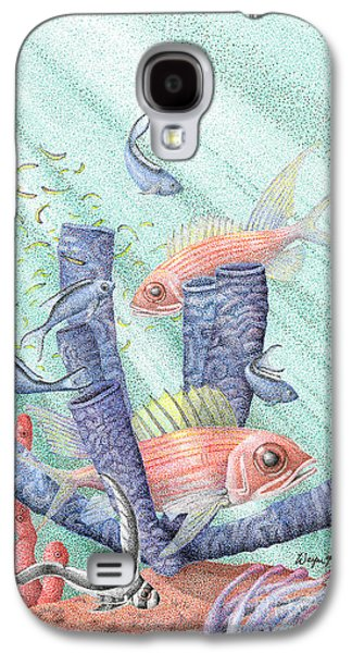 Sun Rays Drawings Galaxy S4 Cases - Squirrel Fish Reef Galaxy S4 Case by Wayne Hardee