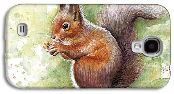 Squirrel Watercolor Art Galaxy S4 Case by Olga Shvartsur