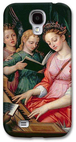 Singing Galaxy S4 Cases - St. Cecilia Accompanied By Three Angels Galaxy S4 Case by Michiel I Coxie or Coxcie