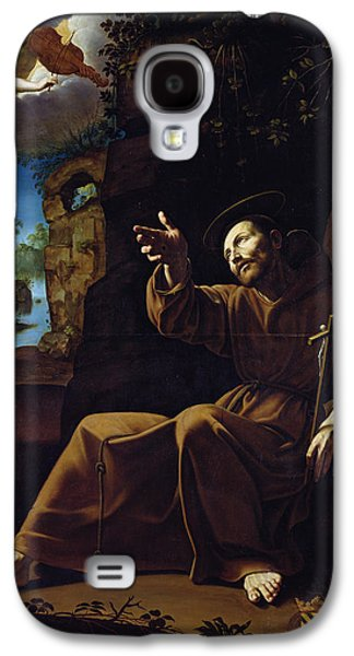 Crosses Photographs Galaxy S4 Cases - St. Francis Of Assisi Consoled By An Angel Musician Oil On Canvas Galaxy S4 Case by Italian School