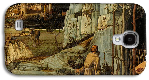 Wilderness Paintings Galaxy S4 Cases - St Francis of Assisi in the Desert Galaxy S4 Case by Giovanni Bellini