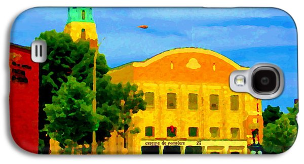 Police Art Paintings Galaxy S4 Cases - St Henri City Hall Poste De Police Et Caserne De Pompiers Montreal City Scene Art Of Carole Spandau Galaxy S4 Case by Carole Spandau