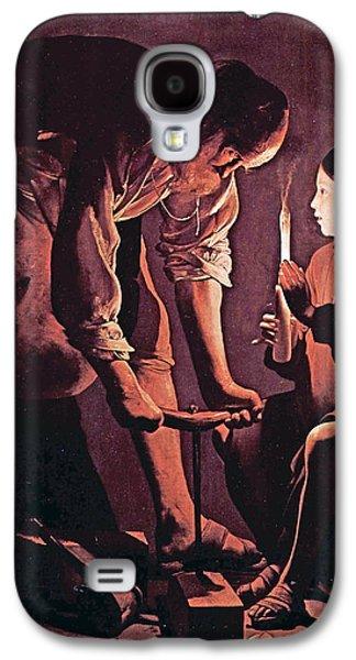 Jesus With Children Galaxy S4 Cases - St Joseph as the carpenter with child Jesus Galaxy S4 Case by Celestial Images