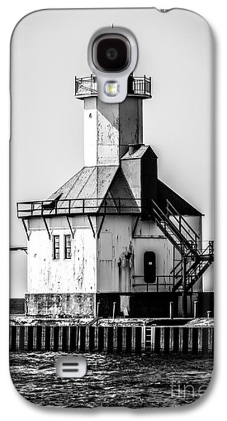 Lake House Galaxy S4 Cases - St. Joseph Lighthouse Black and White Picture  Galaxy S4 Case by Paul Velgos
