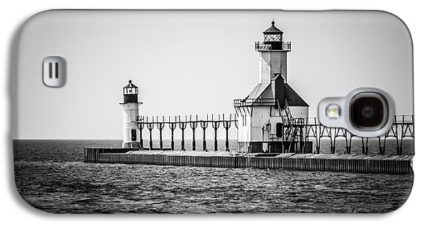 Lake House Galaxy S4 Cases - St. Joseph Lighthouses Black and White Picture  Galaxy S4 Case by Paul Velgos