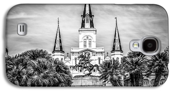 Louisiana Photographs Galaxy S4 Cases - St. Louis Cathedral in New Orleans Black and White Picture Galaxy S4 Case by Paul Velgos