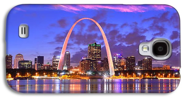 Urban Scenes Galaxy S4 Cases - St. Louis Skyline at Dusk Gateway Arch Color Panorama Missouri Galaxy S4 Case by Jon Holiday