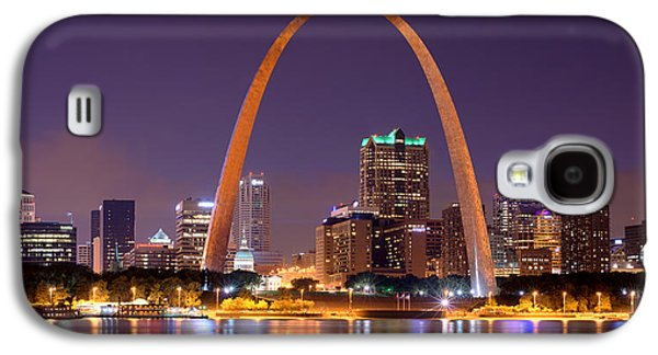 City Scene Galaxy S4 Cases - St. Louis Skyline at Night Gateway Arch Color Panorama Missouri Galaxy S4 Case by Jon Holiday