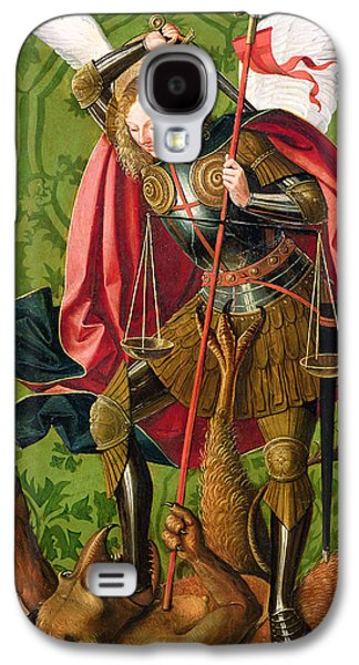 Renaissance Paintings Galaxy S4 Cases - St. Michael Killing the Dragon  Galaxy S4 Case by Josse Lieferinxe