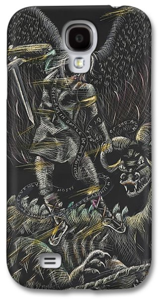 Religious Drawings Galaxy S4 Cases - St. Michael the Archangel Galaxy S4 Case by Michelle Miller