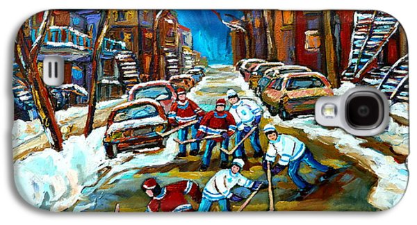 Montreal Streetscenes Paintings Galaxy S4 Cases - St Urbain Street Boys Playing Hockey Galaxy S4 Case by Carole Spandau