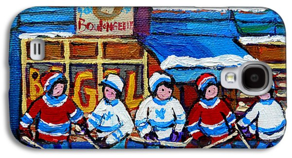 Stanley Cup Paintings Galaxy S4 Cases - St Viateur Bagel Hockey Game Montreal City Scene Galaxy S4 Case by Carole Spandau