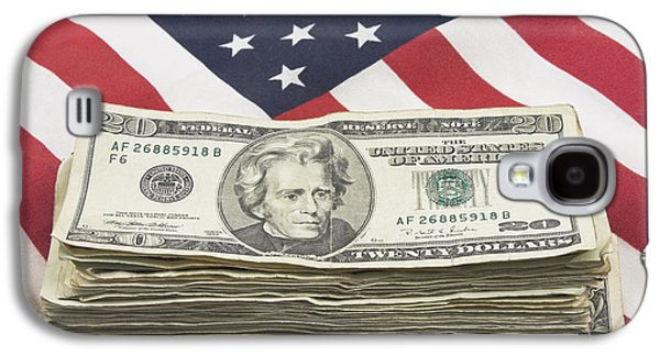 Investment Galaxy S4 Cases - Stack of Money On American Flag  Galaxy S4 Case by Keith Webber Jr