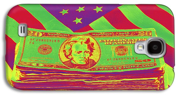 Investment Galaxy S4 Cases - Stack of Money On American Flag Pop Art Galaxy S4 Case by Keith Webber Jr