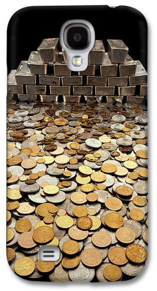 Studio Photography Galaxy S4 Cases - Stack Of Sliver Ingots And Pile Of Coins Galaxy S4 Case by Panoramic Images